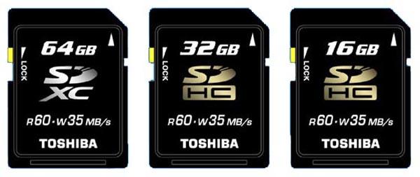 Toshiba представила первую в мире карту памяти на 64 гигабайта