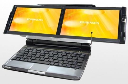 Нетбук Kohjinsha DZ с двумя дисплеями поступит в продажу в декабре