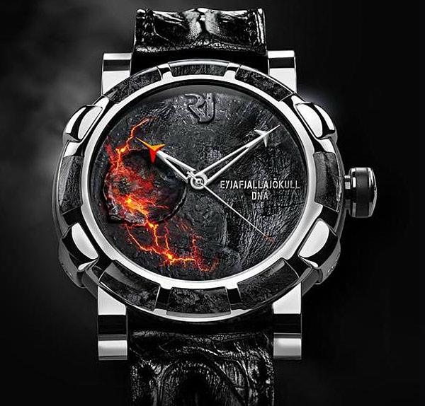 Новые часы от Romain Jerome с осколками вулкана Эйяфьядлайёкюдль