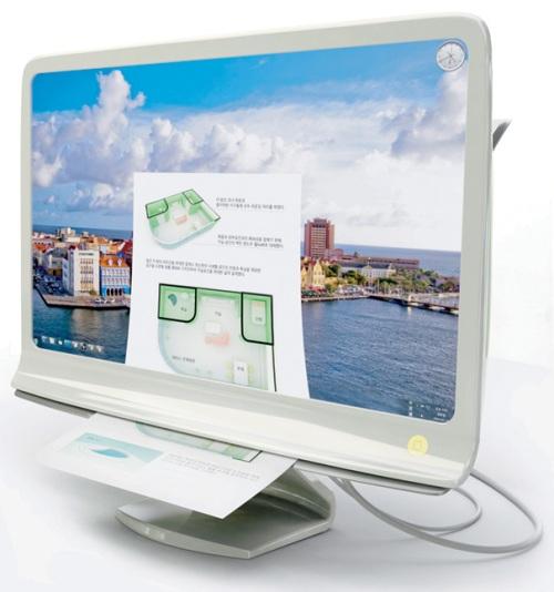 Концепт многофункционального монитора с принтером и сканером