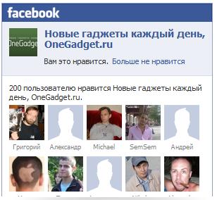 У OneGadget.ru уже 200 поклонников на Facebook!