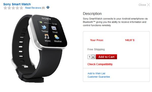 Часы Sony SmartWatch вышли в продажу в США