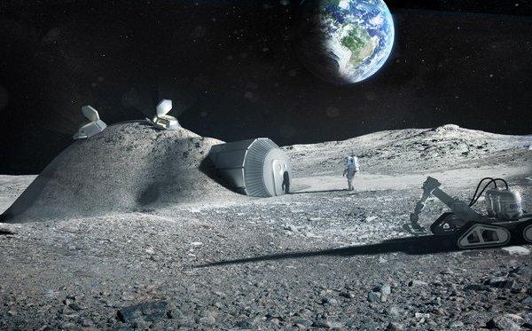 Базы на Луне хотят строить из лунного грунта посредством 3D-печати