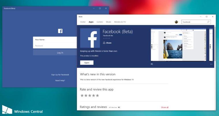Facebook выпустил официальное приложение для мобильной платформы Windows 10