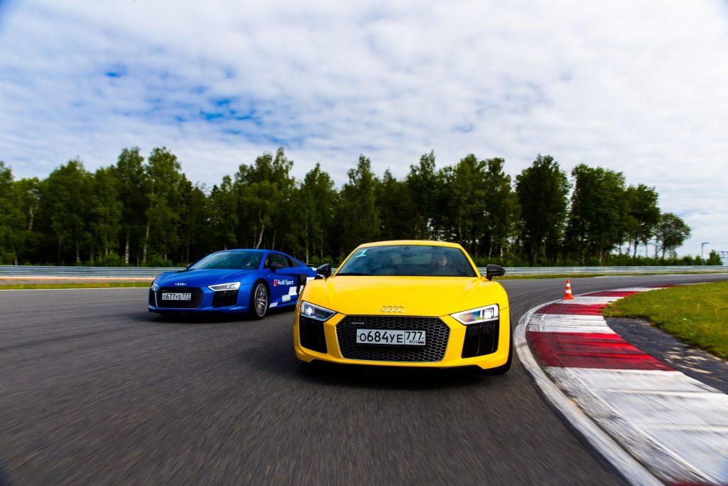 Погонял на Audi R8, RS7, RS6 на гоночной трассе Moscow Raceway, завидуйте!