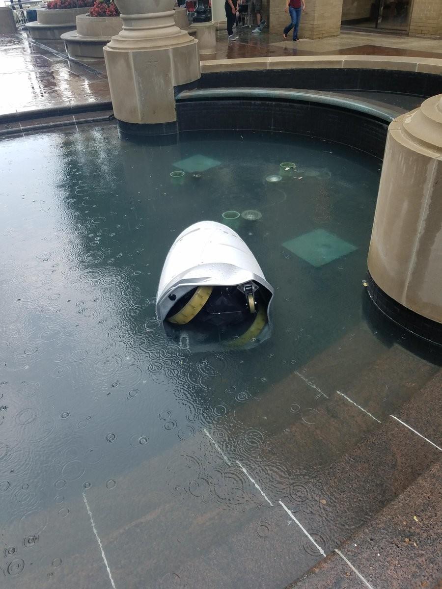 Робот-полицейский в Вашингтоне: сбил ребёнка, пережил нападение, утопил сам себя в фонтане