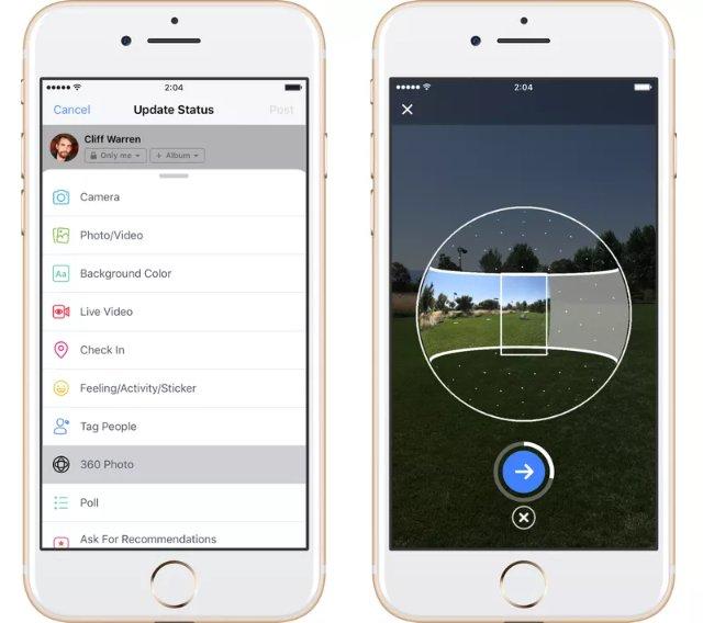 Facebook теперь позволяет снимать 360-градусные фотографии