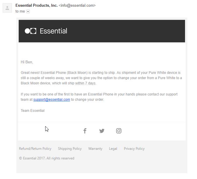 Первый Essential Phone поступит в продажу через 7 дней. Но это не точно.