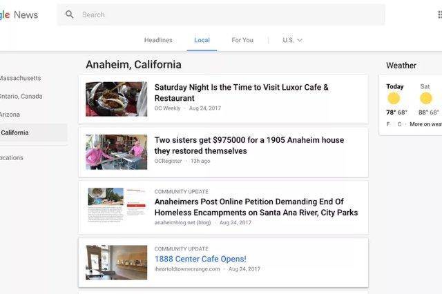 Google News теперь отображает локальные обновления сообщества от блоггеров