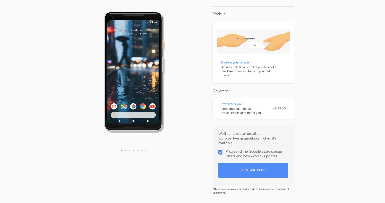 Pixel 2 XL закончился в магазине Google не успев начаться