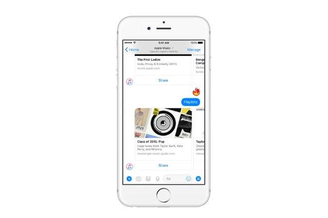 В Facebook Messenger теперь можно транслировать песни из Apple Music