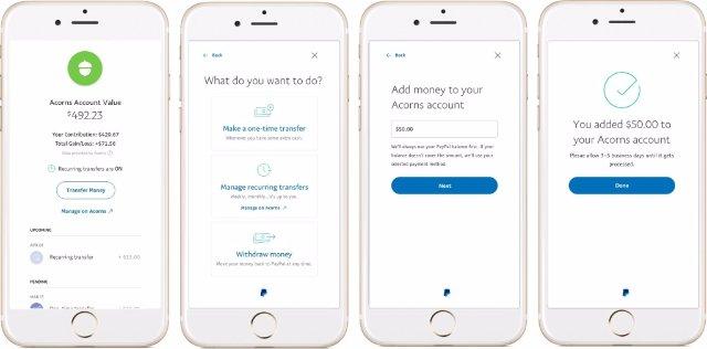 PayPal может помочь вам сэкономить и инвестировать деньги в приложении Acorns