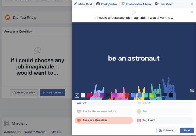 Facebook задает случайные вопросы, чтобы узнать больше о вас