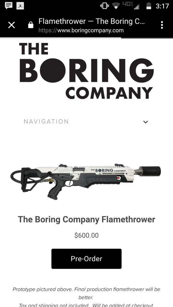 Вещь дня: огнемёт Илона Маска