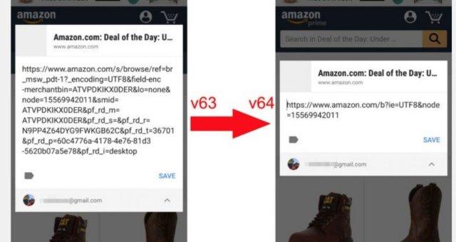 Chrome очищает беспорядочные URL-адреса при совместном использовании с вашего телефона