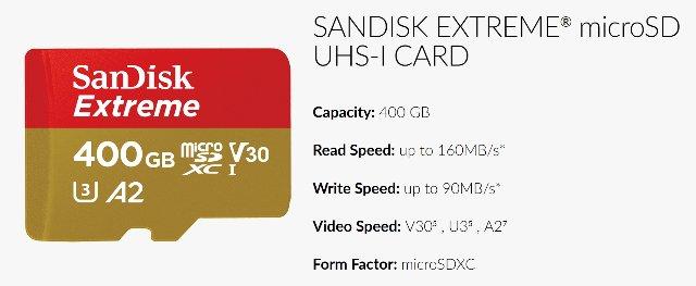 400Гб microSD от Sandisk готова для 4K HDR видео