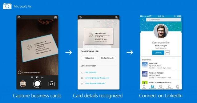 Microsoft Pix может добавлять информацию о визитной карточке в ваши контакты