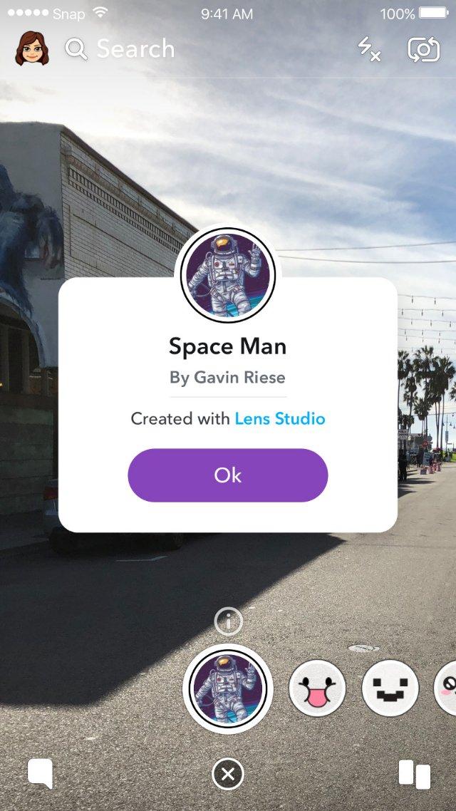 Snapchat будет показывать создателя AR Lens