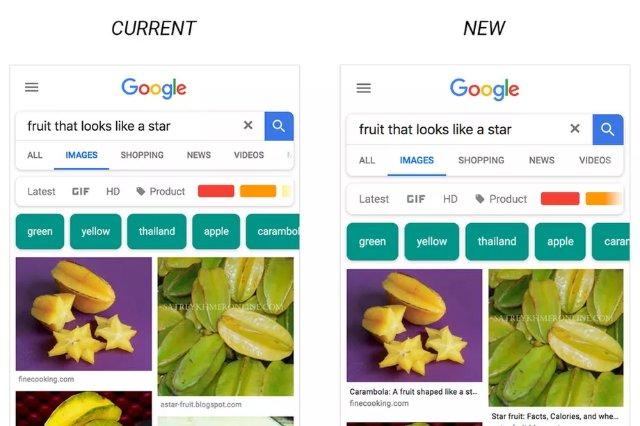 Изображения Google будут отображать подписи в мобильной версии поиска