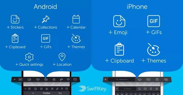 Первое крупное обновление Microsoft SwiftKey включает новую панель инструментов с GIF, наклейками и т.д.