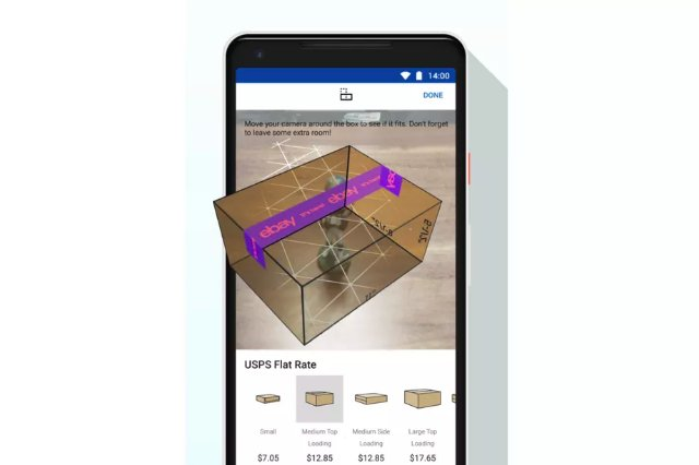 Android-приложение eBay имеет новую функцию AR, которая поможет выбрать правильный размер коробки для доставки