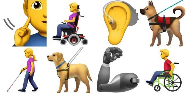 Apple предлагает 13 emoji, представляющих людей с ограниченными возможностями