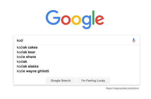 Термин «Kodi» пропал из результатов автозаполнения Google