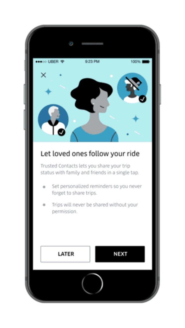 Uber начинает вводить необходимые функции безопасности пассажиров