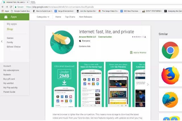 Amazon сделала эффективный браузер Android под названием Internet, и теперь он доступен в Индии