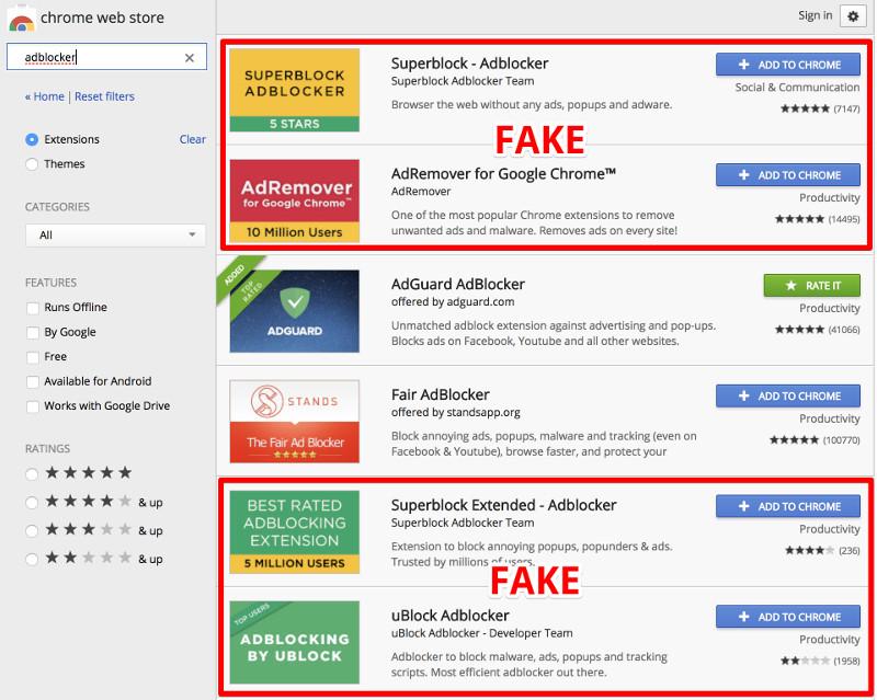 Пользователи установили в Google Chrome фальшивый AdBlock 20 млн раз