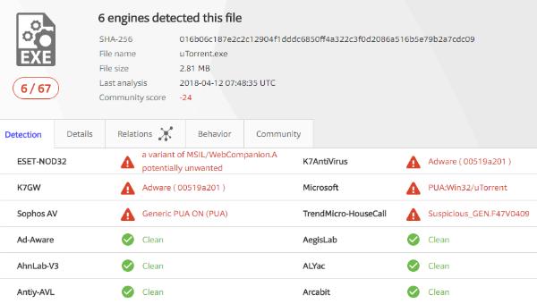 Встроенный антивирус в Windows начал блокировать uTorrent