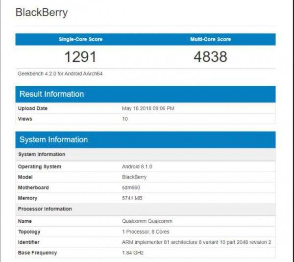 В бенчмарк Geekbench добавили пару новых моделей BlackBerry на Snapdragon 660